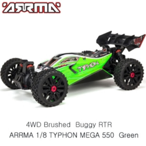 ARRMA 1:8 TYPHON MEGA 550 Brushed 4WD Speed Buggy RTR, Green   [ARA102694]