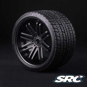 ROAD CRUSHER ONROAD BELTED TIRE BLACK WHEEL 1/4 OFFSET 2PCS 17MM HEX(검정휠 / 반대분)
