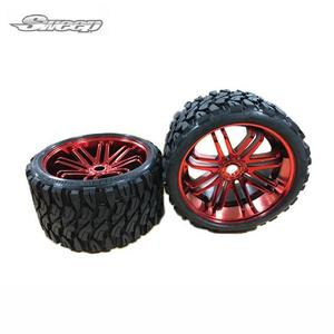 TERRAIN CRUSHER BELTED TIRE RED WHEEL 1/4 OFFSET 2PCS 17MM HEX// 몬스터 트럭 전용 타이어