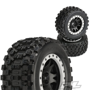 예약판매중)AP10131-13 Badlands MX43 Pro-Loc All Terrain Tires Mounted for X-MAXX Front or Rear, Mounted on Impulse Pro-Loc Black Wheels with Stone Gray Rings (반대분)