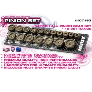 HUDY SET OF 18 ALU PINIONS 64P WITH CADDY 18T ~ 35T   107153