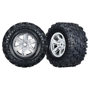 AX7772R Tires & wheels, assembled, glued (X-Maxx satin chrome wheels, Maxx AT tires, foam inserts) (left & right) (2)