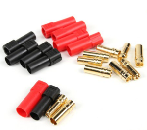 XT150 ESC Side w/6mm Gold Connectors - Red & Black (5pairs/bag) 015000271-0  (변속기측 단자)