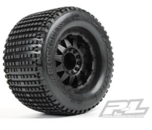 "AP10109-13 Blockade 3.8"" (Traxxas Style Bead) All Terrain Tires Mounted for 17mm MT Front or Rear Mounted on F-11 Black 1/2   // 몬스터 강력추천 타이어."