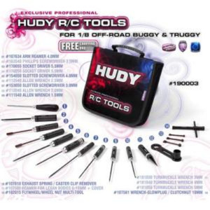 190003 HUDY SET OF TOOLS + CARRYING BAG - FOR 1/8 OFF-ROAD CARS
